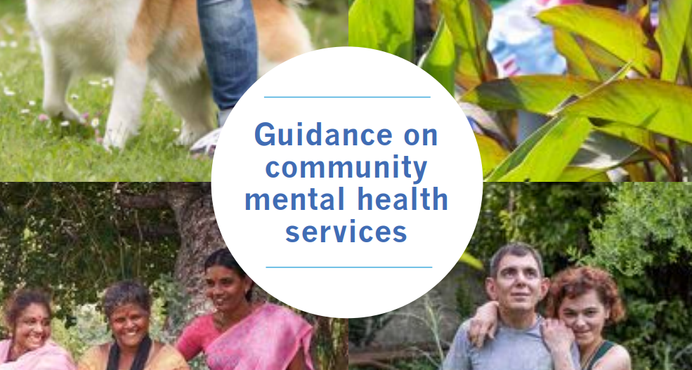 """screenshot of the front page of the new WHO report on community mental health services just showing the title in a white circle: """"Guidance on community mental health services"""""""