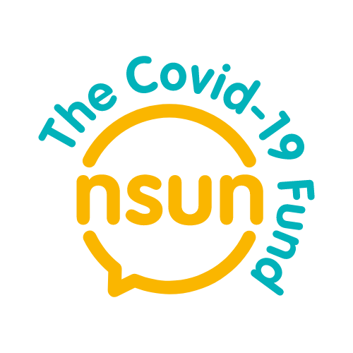 NSUN Covid-19 fund logo in yellow and blue