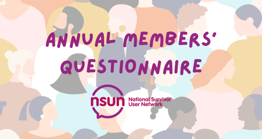 """the words """"annual members' questionnare"""" in purple and the NSUN logo (pink and purple) over a background of a group of colourful cartoon people"""